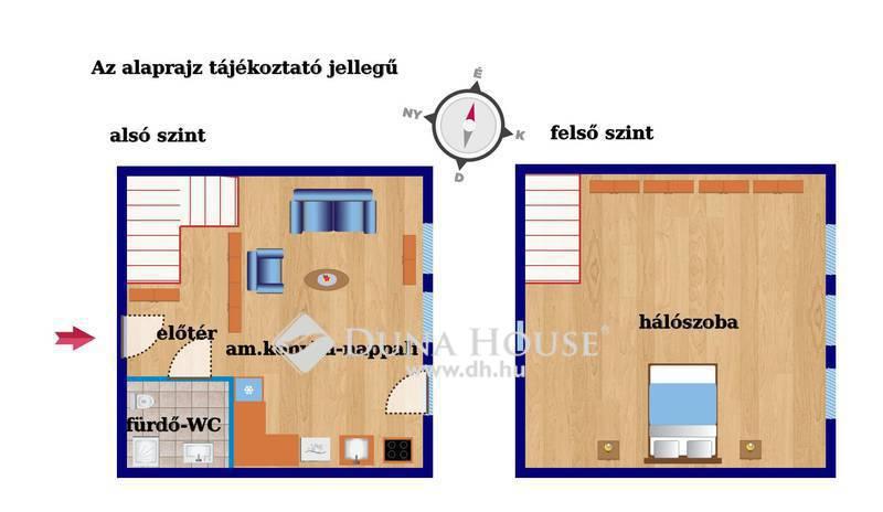 Eladó Lakás, Budapest, 8 kerület, Belső 2 szintes, felújított lakás bútorokkal